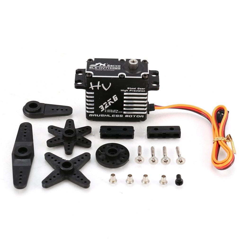 HOT! JX BLS-HV7132MG 32KG Metal Steering Digital Gear HV Brushless Servo with High Voltage for RC Car Robot Airplane Drone