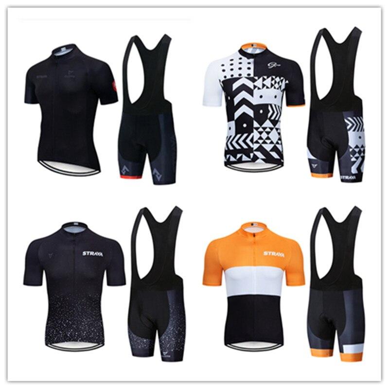 Strava-Maillot de manga corta para Ciclismo, conjunto de Ropa de Ciclismo de...