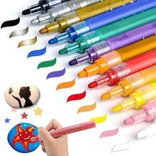 12 Colors Acrylic Paint Marker Pen Metallic Marker Pens for Ceramic Rock Glass Mug Wood Fabric Canvas Halloween Card Painting