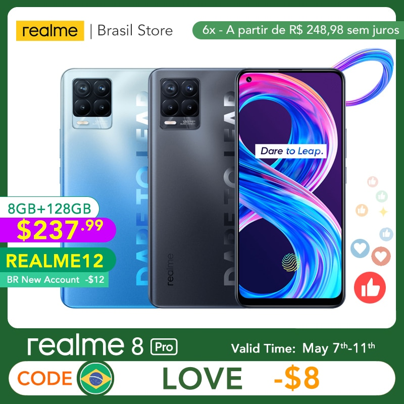realme 8 Pro Global Version 8GB 128GB 108MP Camera 50W SuperDart Charge AMOLED Support B2/4 EU Plug Charger