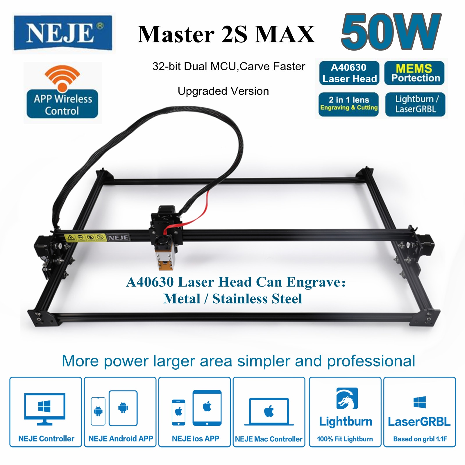 New NEJE Master 2S Max 50W A40630 Profession CNC Laser Engraving Machine Laser Cutter Engrave Metal with App Control Lightburn