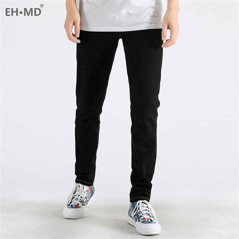 EH·MD® New Double Lion Embroidered Jeans Men's Chinese Retro Small Straight Loose Fashion Large Size Black Trousers Golden Silk
