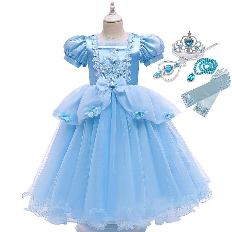 Cinderela cosplay meninas vestido elegante floral festa de natal bola vestido manga curta malha vestido criança cinderela halloween traje