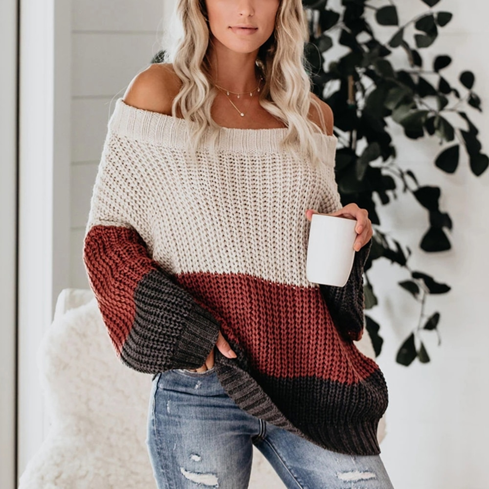 Women Sexy Slash Neck Off Shoulder Striped Sweaters Autumn Winter Loose Patchwork Jumpers Long Sleeve Knitted Pullover Sweater недорого