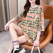 #4294 longs t-shirts femmes pour lété pleine lettres Harajuku Streetwear t-shirt en vrac Vogue femmes t-shirts mince Style coréen