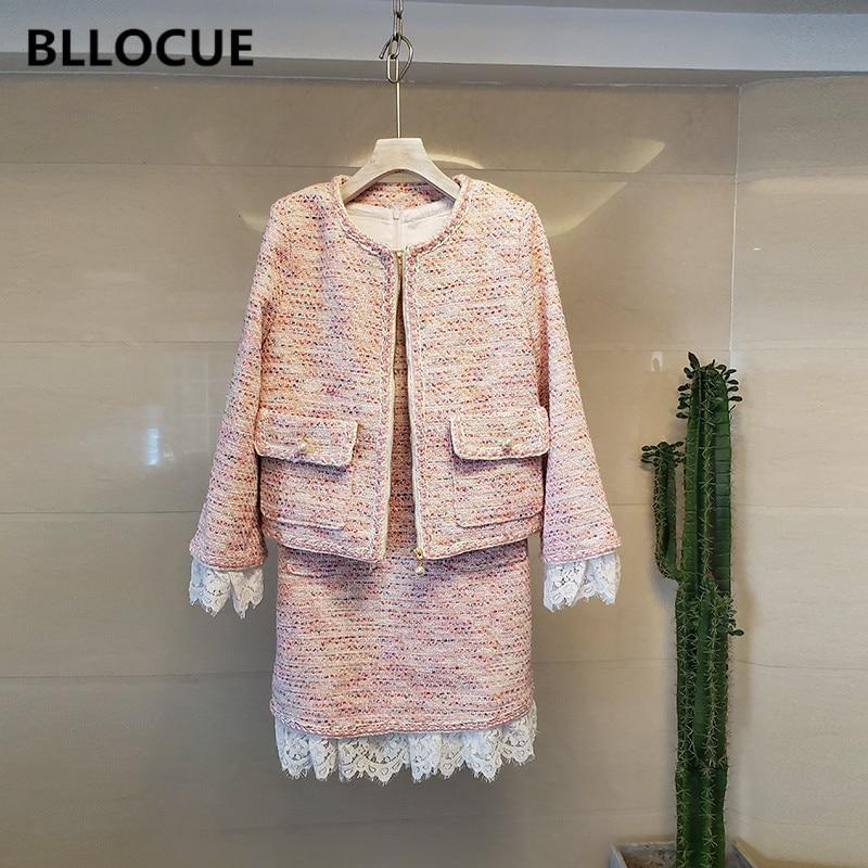 BLLOCUE 2020 الخريف الوردي تويد مكتب 2 قطعة مجموعة مصمم النساء سترة معطف + لصق الدانتيل سترة كلمة اللباس الدعاوى