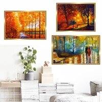 Peinture a lhuile de paysage nordique dore dautomne  toile dart  salon  couloir  bureau  decoration murale de la maison