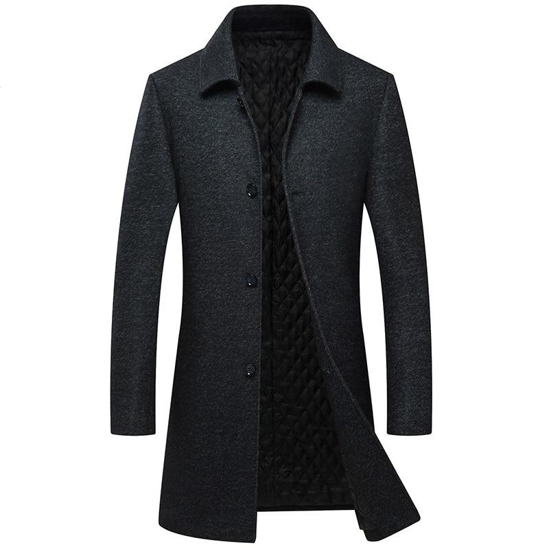 معطف شتوي للرجال معطف سميك دافئ من الصوف X-معطف طويل للرجال أعزب الصدر معطف رجالي من Abrigo Hombre Casaco Masculino