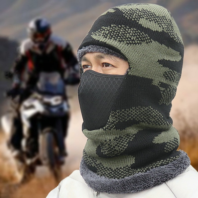 Winter Knit Warm Motorcycle Camouflage Mask Hat Hooded Outdoor Cycling Windproof Face Caps Helmet For Women Men