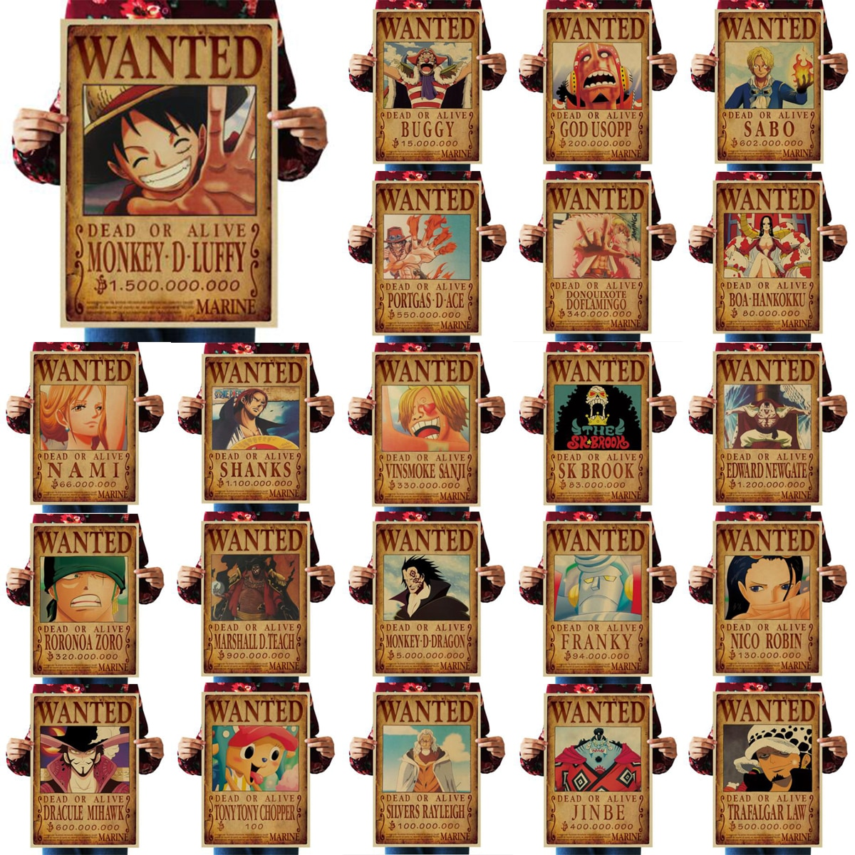 A set of 23 One Piece posters 51.5x36cm Home Decor Wall Stickers Vintage Paper One Piece posters Anime posters Luffy Wanted