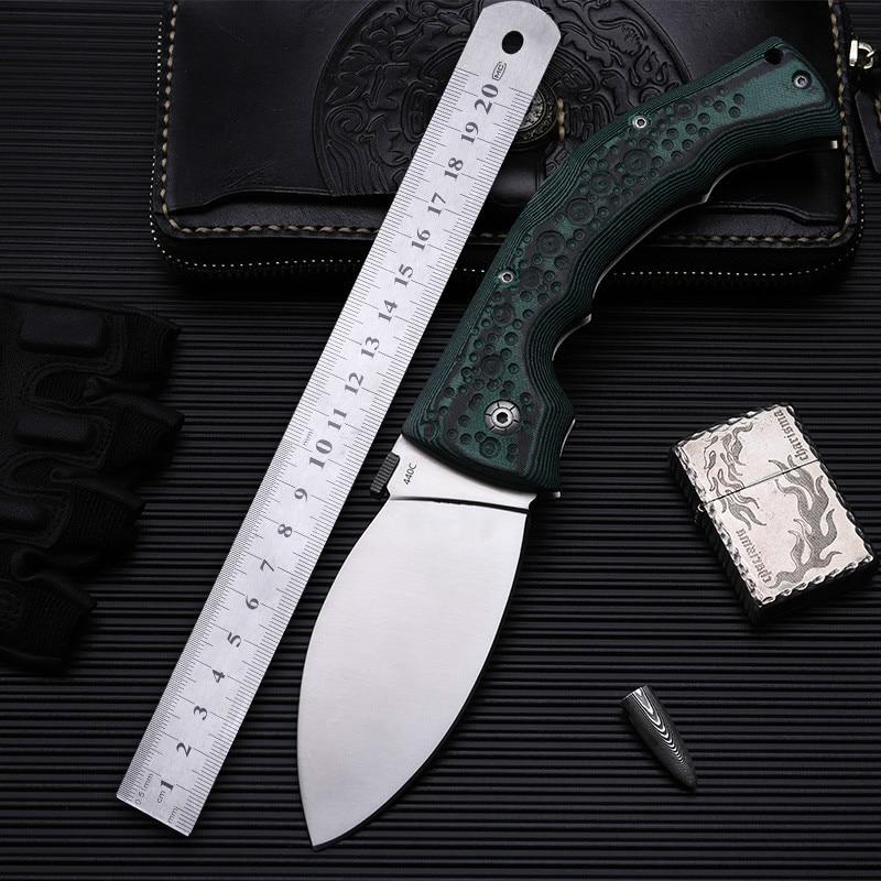 Alta dureza 440c lâmina mikata lidar com verde faca de dobramento tático ao ar livre acampamento edc ferramenta caça bolso faca