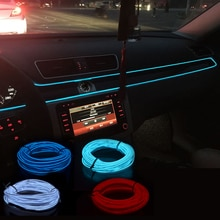 Auto Innen Beleuchtung Auto LED Streifen Girlande EL Draht Neon Licht Für Ford Fiesta Focus 2 1 Transit Fusion Kuga mustang KA S-max