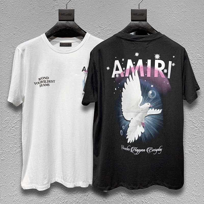 Amiri Slp Rainbow Peace Dove Graphic T-shirt  Men Women Couple Clothes Streetwear Oversize kanye west Tees Short Sleeve Tops