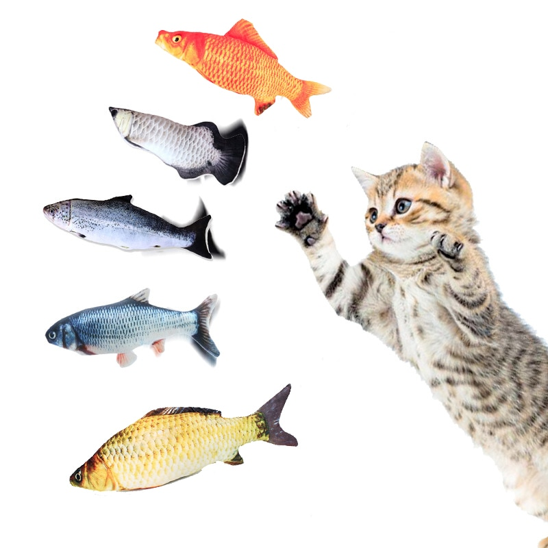 20cm Pet Cat Toy Fish Shape Soft Plush Simulation Fish Toys Bite Resistant Catnip for Kitten Chew Toys Pet Interactive Supplies electric cat toys plush interactive electronic bite resistant chew molar moving dancing fish toy kitten grinding claw