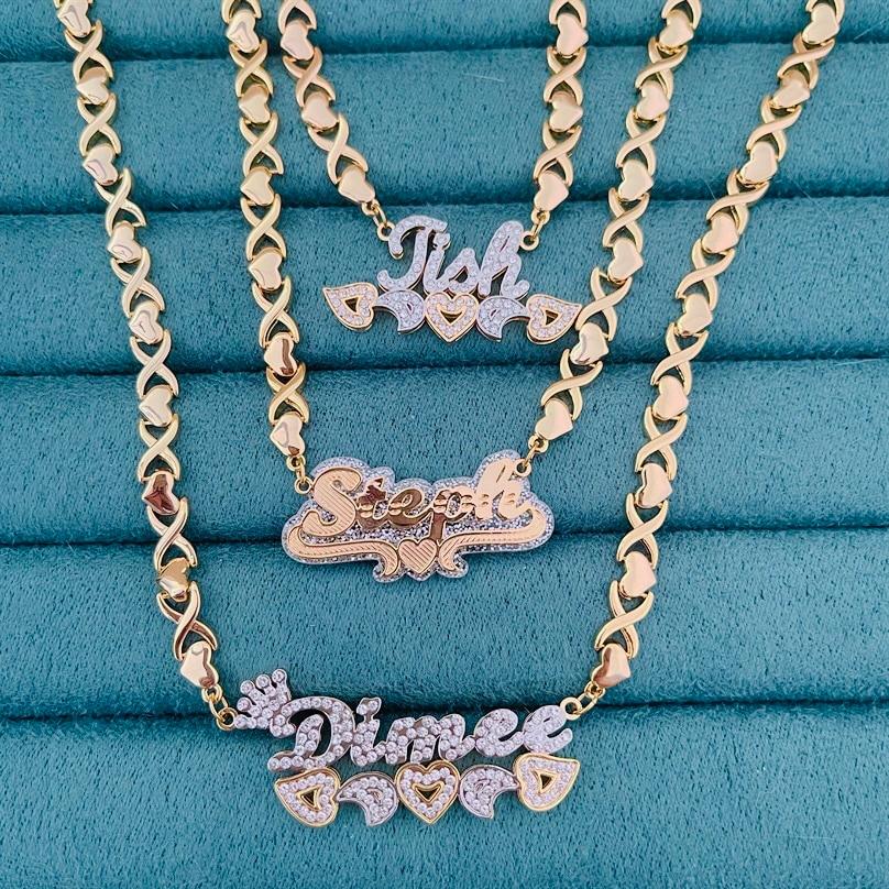 Персонализированное 3D Двухслойное ожерелье XOXO с именем под заказ позолоченная табличка медные ожерелья ожерелье с именем под заказ Женски...