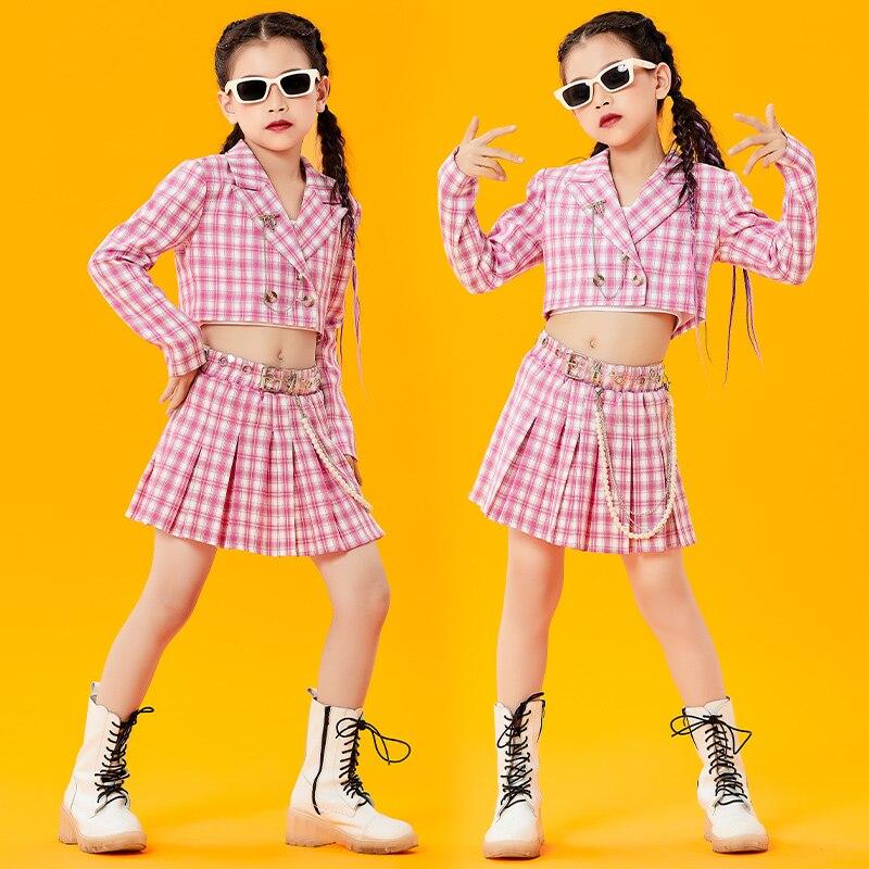 Одежда для танцев в стиле хип-хоп для девочек, розовый костюм с длинным рукавом в стиле хип-хоп, костюмы для джазовых представлений, одежда д...
