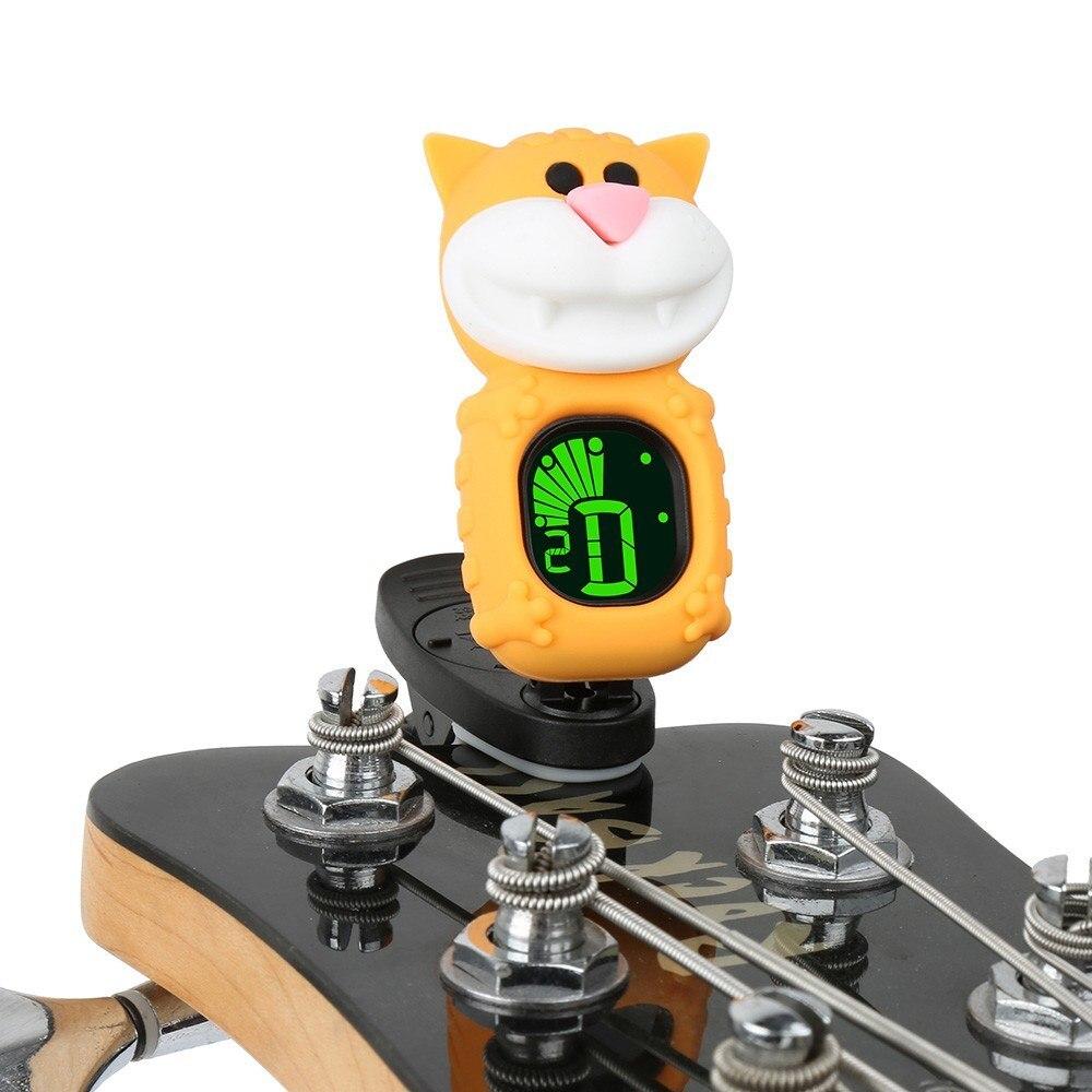 Lindo gato de dibujos animados Clip-On Tuner LCD pantalla para guitarra bajo cromático ukelele violín