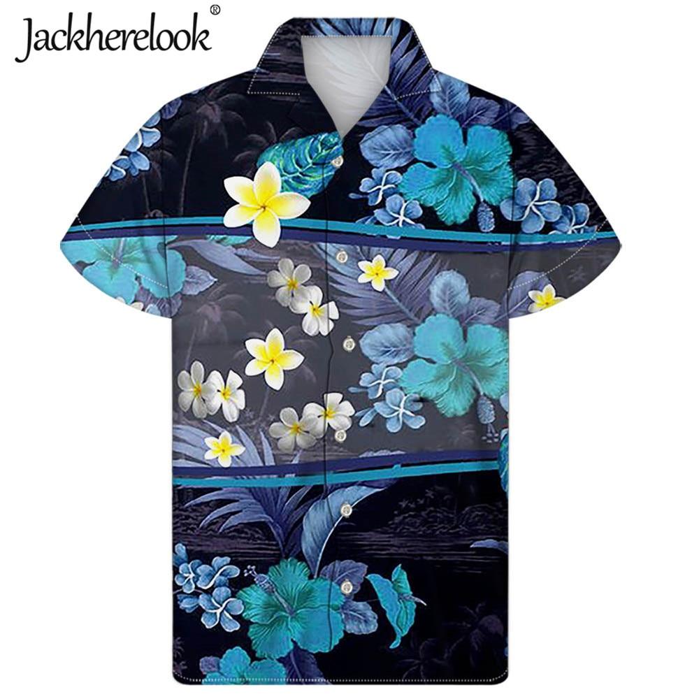 Jackherelook-Camisa hawaiana de Plumeria para Hombre, ropa de playa, informal, con estampado...