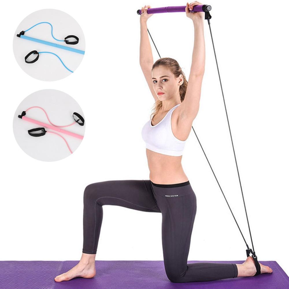 New Pilates Stick Yoga Bar Fitness Sport Kit Gym Workout Stick Pilates Exercise Bar Kit with Resistance Band Body