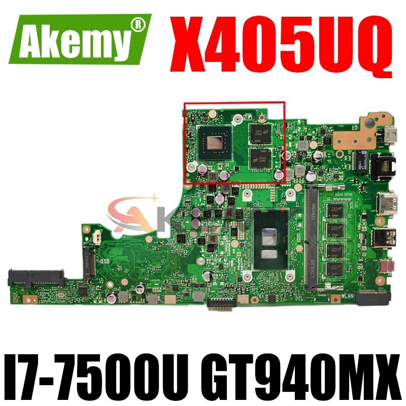 Akemy X405UQ материнская плата для ноутбука ASUS VivoBook 14-X405UQ X405U S4100UQ U4100UQ оригинальная материнская плата 4GB-RAM I7-7500U GT940MX