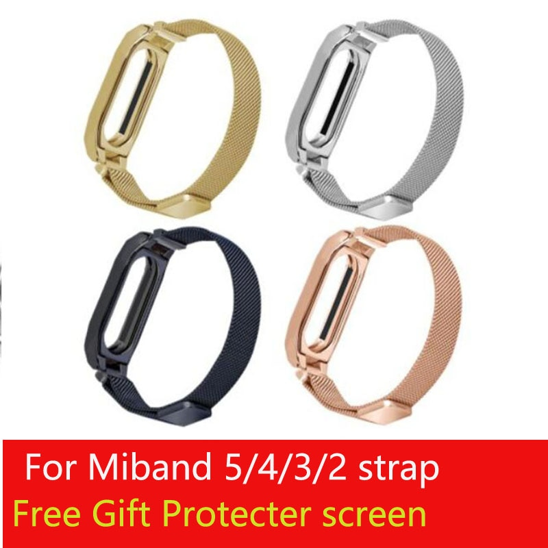 New arrival Stainless steel Miband5 6 Wrist Strap For Xiaomi Mi Band 234 bands Bracelet Wrist Straps Metal Belt