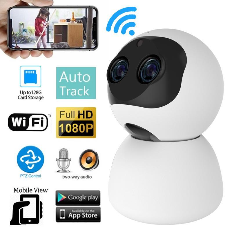 1080P Cámara cámara IP WiFi De doble lente cúpula Pan Tilt Binocular...