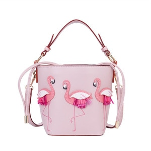 2021 Designer Fashion Flamingo Bucket Bag Women PU Leaather Handbags Female Ladies Shoulder Bag Femme Crossbody Bag Massage Bags