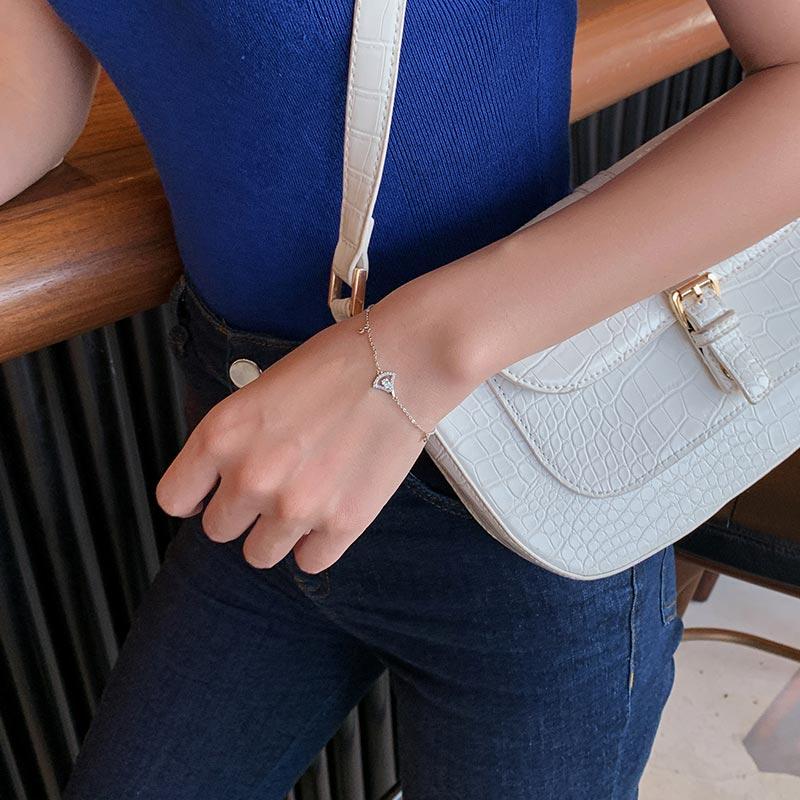Hollow Sector Rhinestone Bracelet Ins Special-Interest Design Exquisite High Sense Thin Bracelet Kor