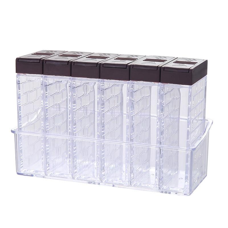 Caja para condimentos de plástico transparente con base botella de condimento, sal de cocina de seis piezas, tanque de condimento de glutamato monosódico, sazonina