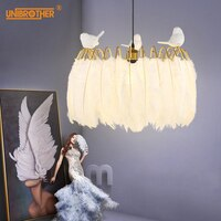 Feather pendant lamp Nordic modern hanging lights for Living Room Bedroom Home Christmas Decoration Creative Bird lighting