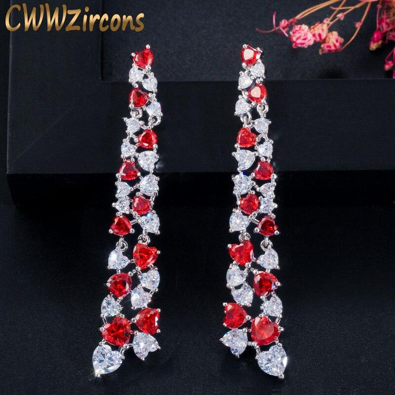 Cwwzircons amor único coração corte rubi vermelho zircônia cúbica pedra preciosa prata longo balançar brincos de gota para jóias femininas cz607