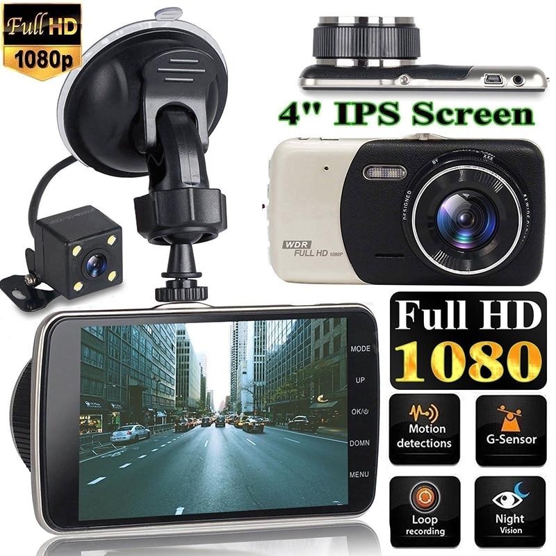 4-дюймовый видеорегистратор с двойным объективом, Автомобильный видеорегистратор, камера безопасности Full HD 1080P, видеорегистратор с ночным в...
