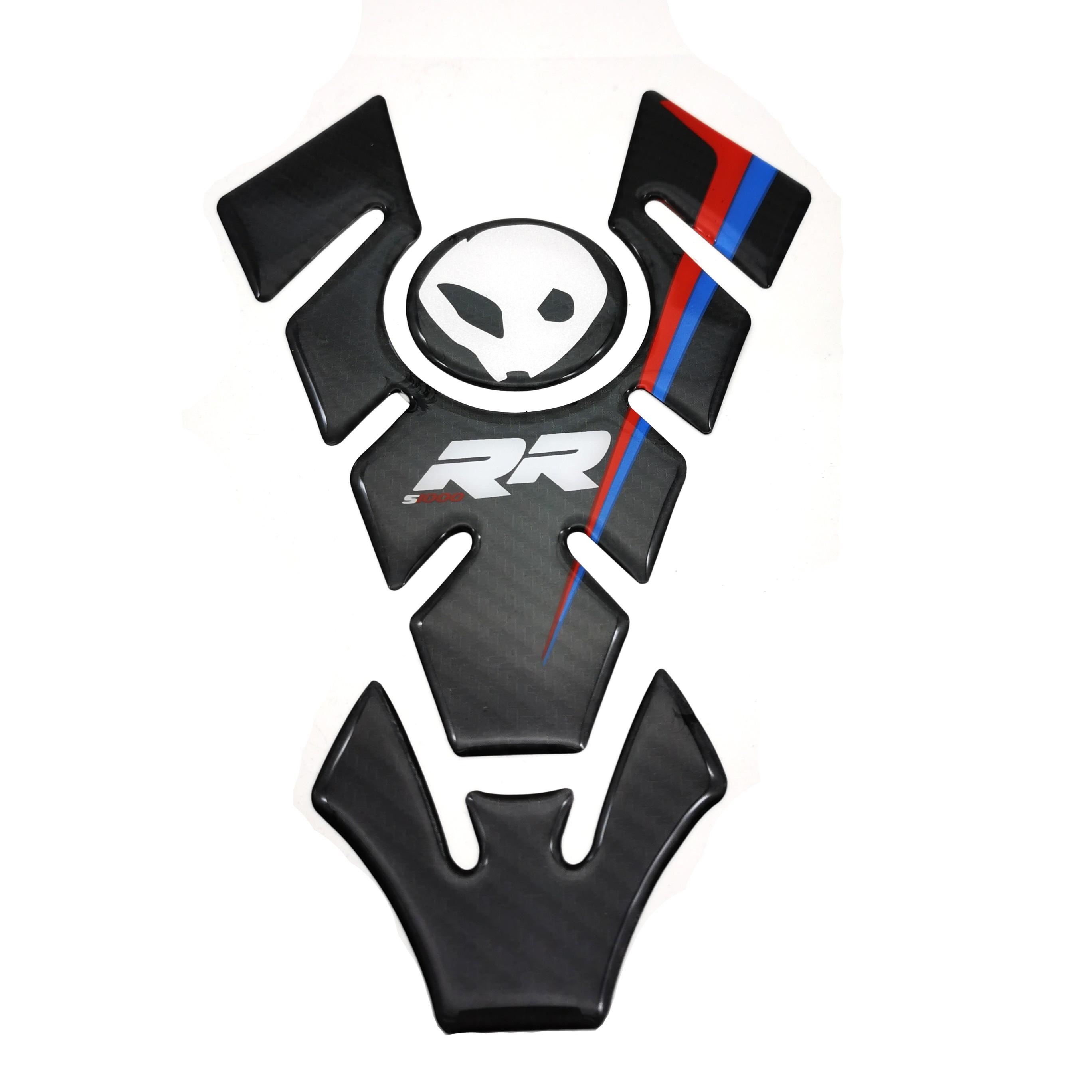 Pegatina de fibra de carbono auténtica para motocicleta, pegatina con emblema de protección para tanque, pegatina para BMW S1000RR S1000R S1000 RR HP4