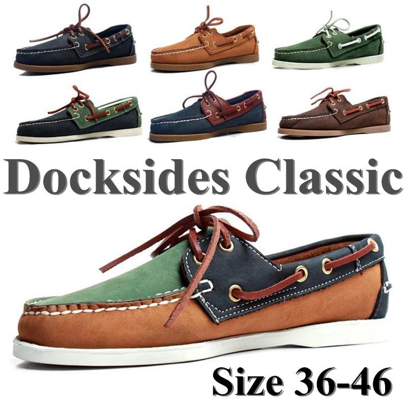 Mocassins de Couro Clássico para Barco Legítimo Unissex Sapato Tamanho Grande Azul Marinho Marrom Preto Loafers A053