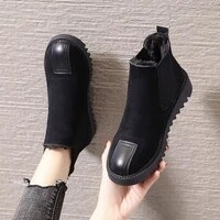 ladies chelsea style flat boots womens warm fur shoes black ankle boots suitable for winter and autumn warm boots