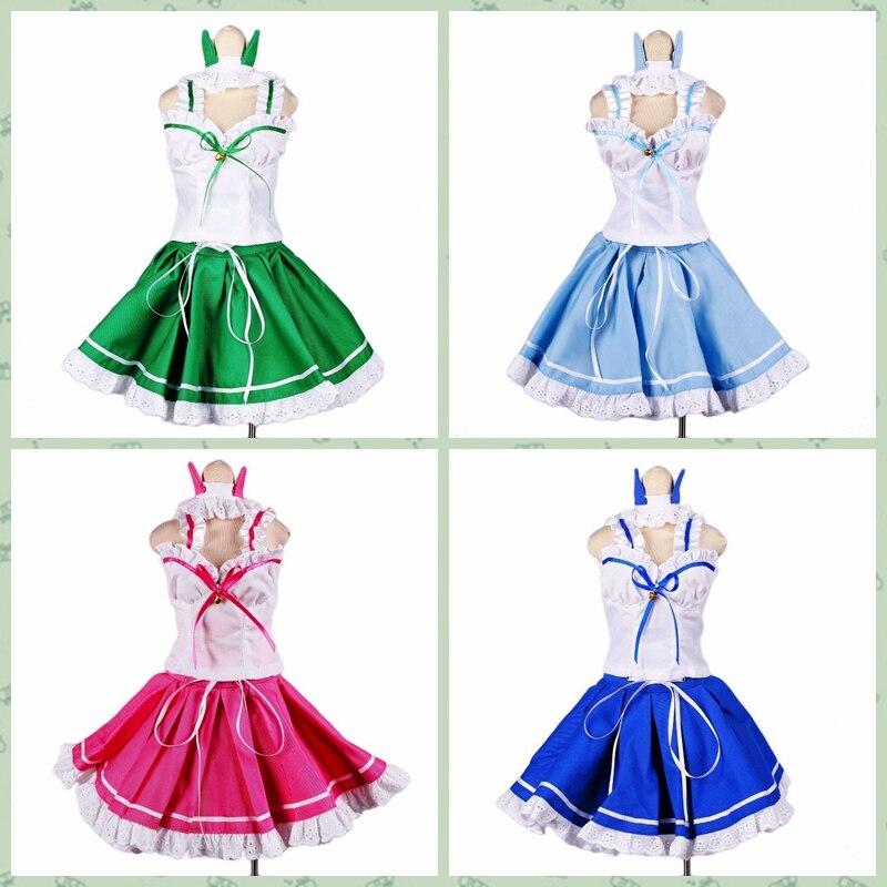 [Wamami] 129 # vestido Oreja de Gato azul claro verde rosa/traje 1/4 MSD 1/3 SD DZ AOD BJD Dollfie