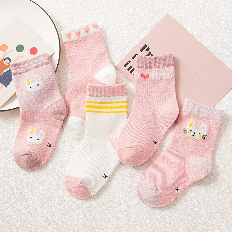 Baby Socks Newborn 5 Pairs/lot Winter Thick Baby Socks for Boys Girls Cotton Infant Casual Toddler Cartoon Socks balabala 3 pairs lot boys socks children socks with cute animal print summer casual sock for newborn baby short infant socks
