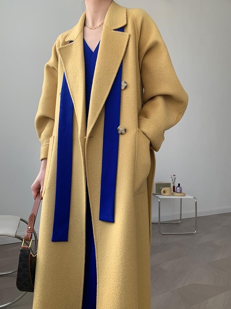 تموج المياه مزدوجة الصدر دعوى طوق الوجهين معطف من قماش الكشمير الصوفية معطف الإناث النسخة الكورية 21 جديد