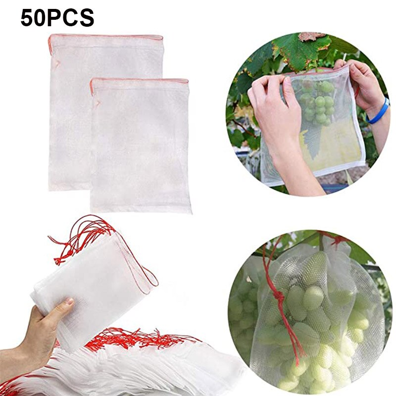 50 Pcs Garden Tool Netting Bags Fruit Barrier Covers Bags Fruit Protector Bag Nylon Garden Netting Bags Mosquito Net Barrier Bag