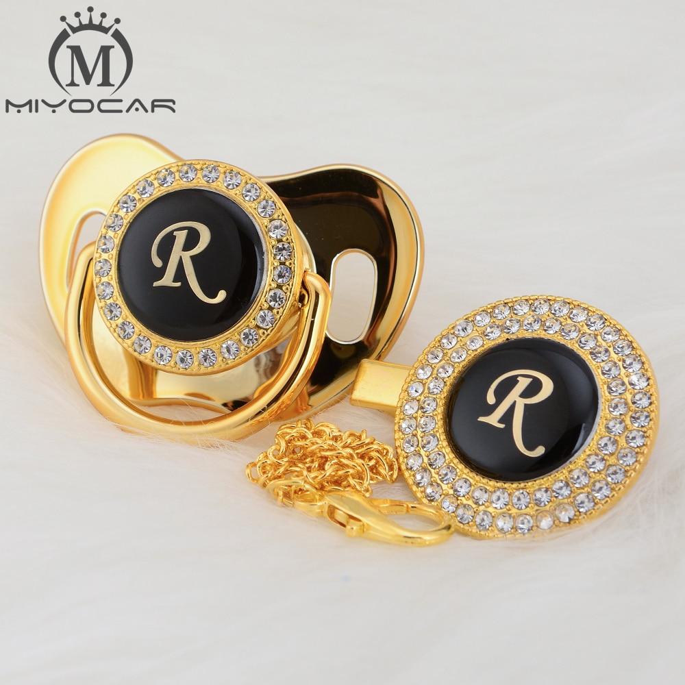 BLING nombre letra inicial R elegante plata bling chupete y chupete clip BPA libre dummy bling diseño único SGS pass LR
