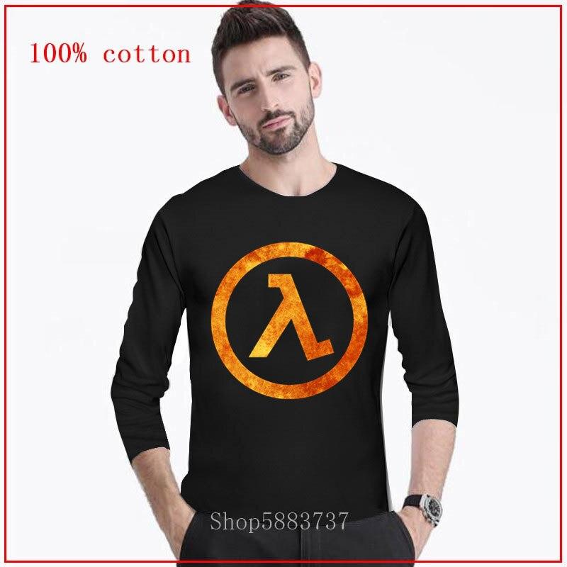 2020 nueva moda joven blusa divertida Half Life hombres camisa manga larga cómoda totalmente de algodón camisetas mangas largo personalizado
