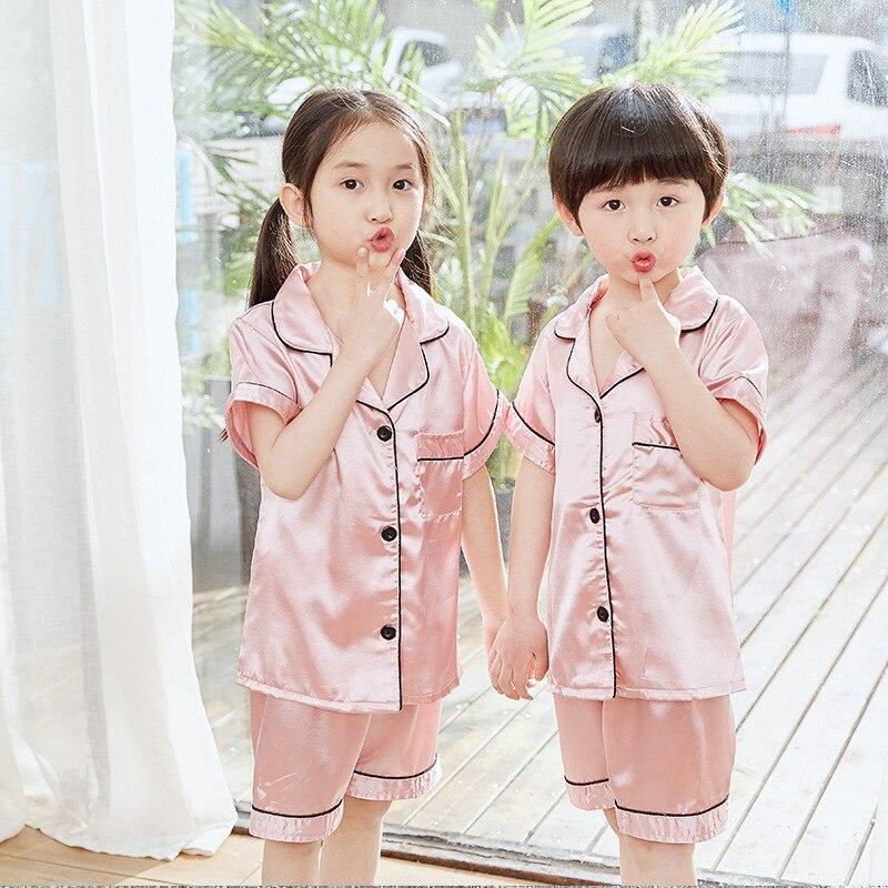Crianças pijamas de verão meninos e meninas terno com ar condicionado roupas seção fina crianças verão gelo seda curto-mangas compridas