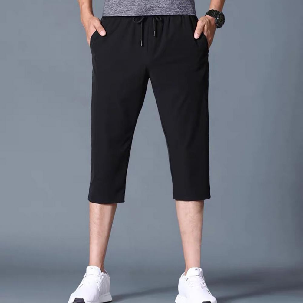3/4 Capri Pants Solid Color Stretchy Men Drawstring Pockets Cropped Trousers for Sports