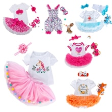 Latest 50-58CM Doll Dress Reborn Baby Doll Clothes High Quality Dress All Cotton Clothes With Hairba