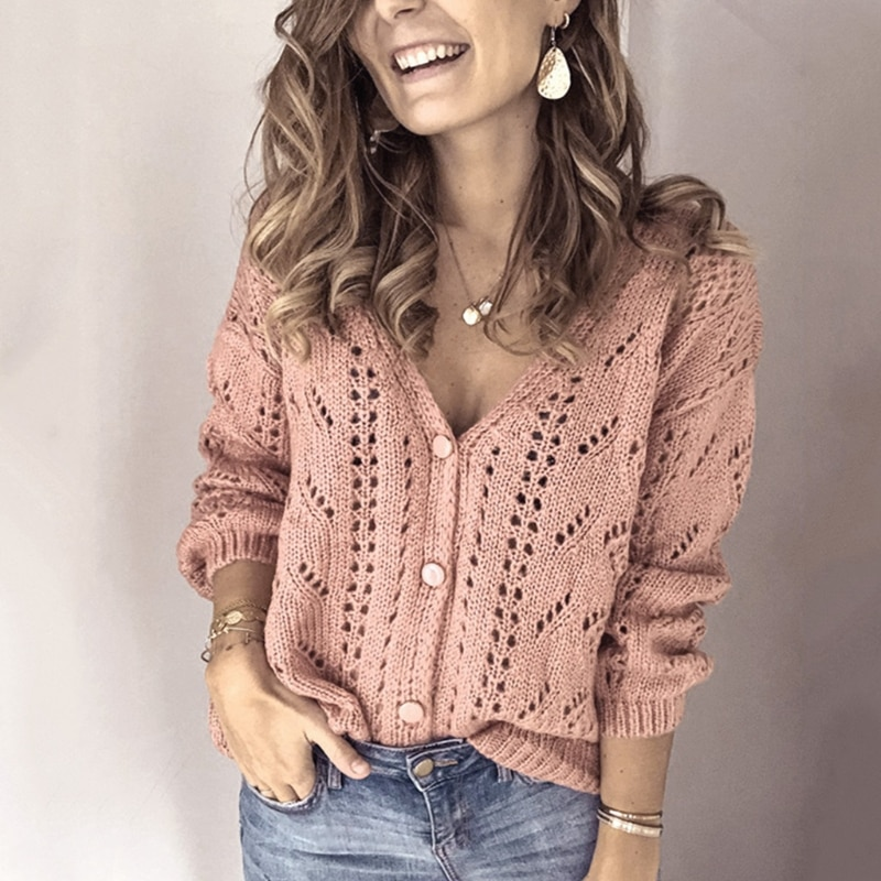 Women Autumn Long Sleeve Sweater Cardigan Sexy V-Neck Button Down Solid Color Jacket Hollow Out Mesh Crochet Knitted Loose Coat