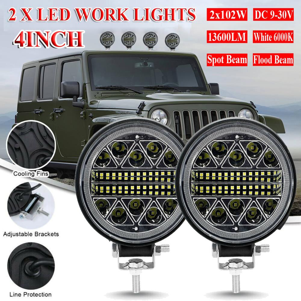 bjmoto motorcycle 4pods rgb led bluetooth rock lights off road truck suv car led rock light music phone control multicolor light 2Pcs Round LED Work Lights Off Road Spotlight 102W 12V/24V 13600LM LED Car Light Bright Beam For SUV ATV Truck Motorcycle Light