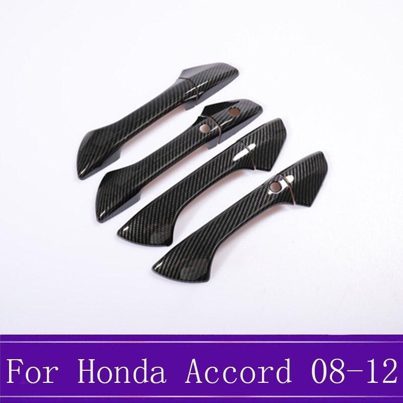 Apto para Honda Accord 2008-2012 ABS negro de fibra de carbono tapa de pomo de la puerta lateral decoración de embellecedor 8 unids/set