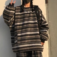 pullovers women oversize unisex couples japanese striped knit sweater hip hop female new winter fashion retro daily