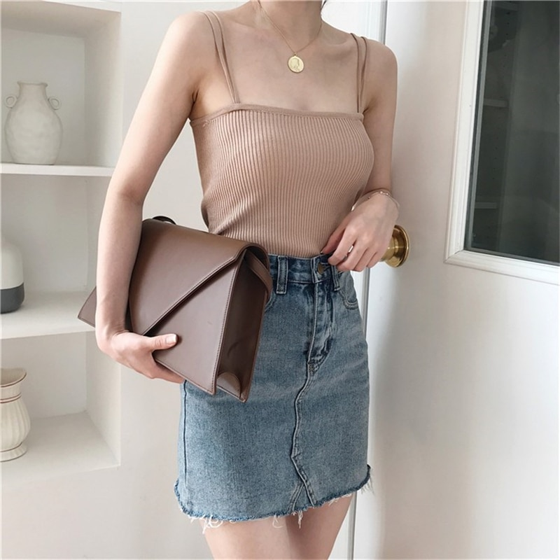 H400ff1682caf49cd82ef2c8d95c6d316E - Summer Korean Sleeveless Basic Solid Camisole