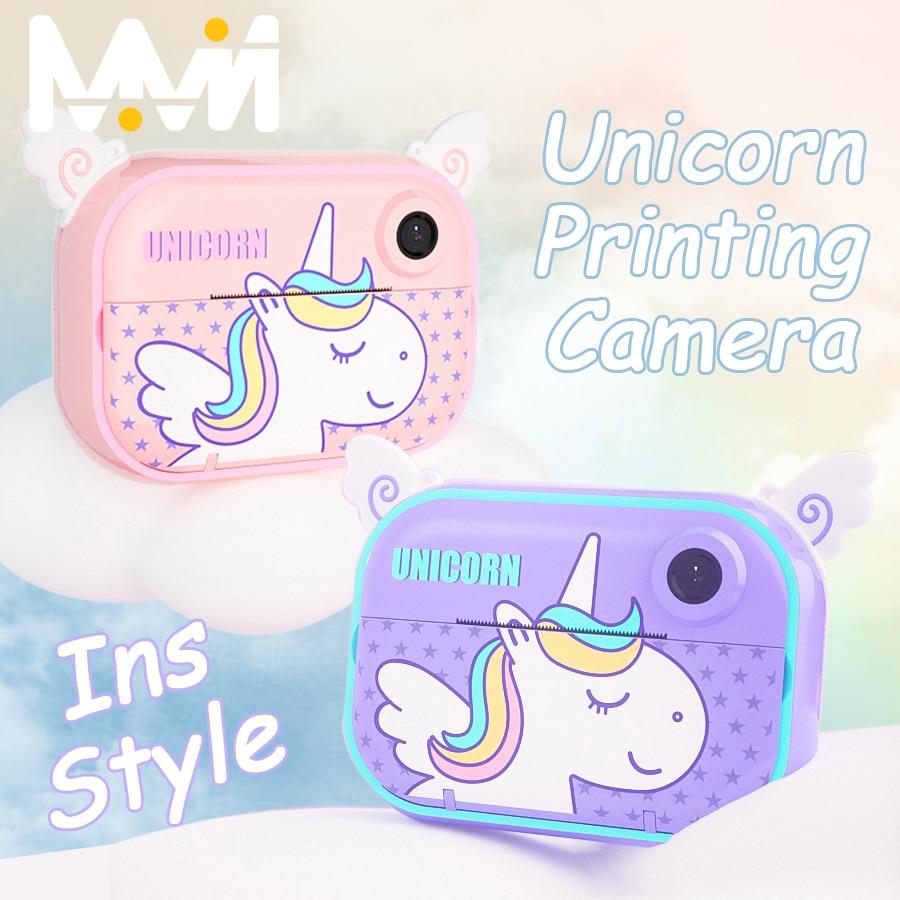 INS Unicorn Kids Instant Camera Print Camera For Children HD Digital Camera For Kids Photo Camera To